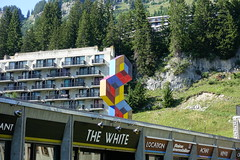 """Les Trois Hexagones"" @ Statue by Victor Vasarely @ Flaine Forum @ Resort @ Flaine @ Hike to Désert de Platé (*_*) Tags: summer mountain france nature montagne europe afternoon loop hiking august trail savoie circuit 74 ete hautesavoie 2019 randonnee sculpture art statue architecture concrete walk skiresort flaine sentier marche brutalism giffre stationdeski lapiaz désertdeplaté faucigny marcel breuer"