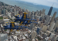 The U.S. Navy Flight Demonstration Squadron, the Blue Angels, diamond pilots fly over Chicago during the 2019 Chicago Air and Water Show. (Official U.S. Navy Imagery) Tags: blueangels usnavy marinecorps navyflightdemonstrationsquadron usmc usn nfds chicago ill unitedstates