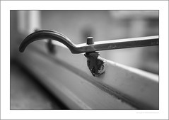 Wndow latch (G. Postlethwaite esq.) Tags: bw dof macro unlimitedphotos blackandwhite bokeh closeup depthoffield latch monochrome photoborder selectivefocus window