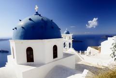 Cupolas (Marite2007) Tags: santorini oia cyclades greece islands blue white architecture cupolas domes church sky clouds scenery caldeira