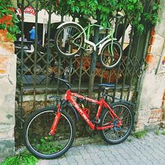 The big one & small one (Ladyhelen_) Tags: bike street city citylover traveller town cityart trip streetart