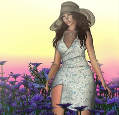 Every flower must push through the dirt to bathe in the sunlight (Aleriah.) Tags: aleutia chicory felix flowers homegarden lode mina secondlife sl summer sunlight sunset virtualfashion virtualgirls