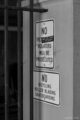 no......nO......NO...... (Little Hand Images) Tags: signs nosigns posted wall blackandwhite monotone signage onthestreet leica clux