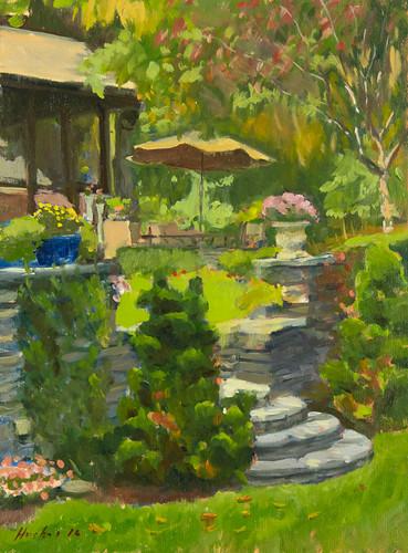 Summer Garden, oil on panel