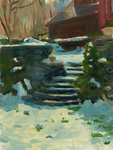 Steps early spring, oil on panel