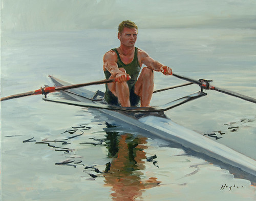 Sculler, oil on canvas