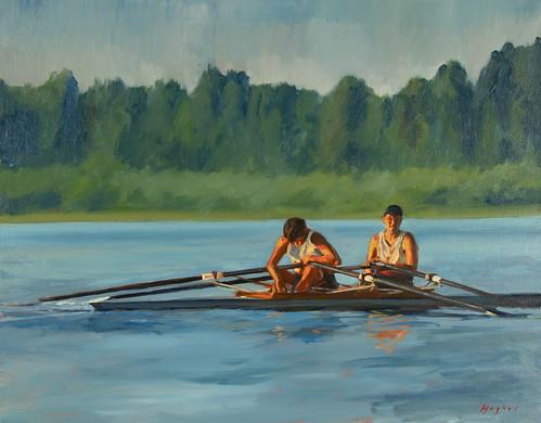 Men's Double, oil on canvas