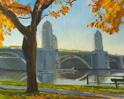 Longfellow Bridge, oil on panel