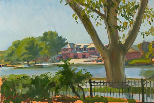 Harvard Boathouse, oil on panel