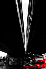 At the point (Jonathan Vowles) Tags: bus bridge london red selective blur