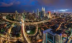 The Veins Of Kuala Lumpur (DanielKHC) Tags: malaysia kualalumpur cityscape panorama nikon d850 nikkor19mmtiltshift blue hour digital blending veins highways light streets petronas towers kltower