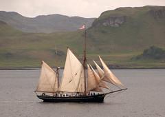 Mull sailing ship 1 (chris-parker) Tags: mull iona scotland beach rocks sand yacht sunset sea pinks seaweed sailing ship traigh ban boat rockpool puppy cal mac caledonian macbrayne