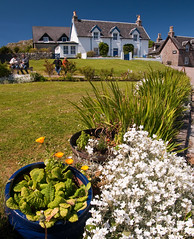 Iona village (chris-parker) Tags: mull iona scotland beach rocks sand yacht sunset sea pinks seaweed sailing ship traigh ban boat rockpool puppy cal mac caledonian macbrayne