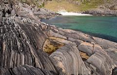 Beach nr Scoor, Mull (chris-parker) Tags: mull iona scotland beach rocks sand yacht sunset sea pinks seaweed sailing ship traigh ban boat rockpool puppy cal mac caledonian macbrayne