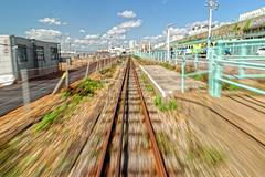 Speed (Croydon Clicker) Tags: movement blur railway electric train track promenade sky cloud railings sleepers brighton sussex nikon sigma