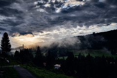 Morning mood (iamunclefester) Tags: allgäu gunzesriedertal sonthofen gunzesried valley hiking outlook lookout bedroom window vista mountains mountain mountaintop clouds cloud cloudy fog foggy haze hazy cloudscape trees forest panorama morning early bella bellavista grass green blue calm alps bavaria mountainrange mountainchain hill hills classic tour holiday good day moody mood morningmood tree silhouette atmospheric atmosphere lawn meadow hayfield
