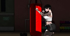 Focus (Miru in SL) Tags: secondlife sl black cats poses mister razzor tattoos darkfire clothing top shorts sport boxing training gym tram hair bad unicorn