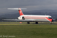 OY-RUT McDonnell Douglas MD-82 Danish Air Transport Glasgow airport EGPF 22.08-19 (rjonsen) Tags: plane airplane aircraft aviation airliner mad dog retro livery special scheme taxying airside