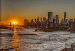 Sun sets on lower Manhattan - Explore # 15 August 22, 2019 (Jeffrey Friedkin) Tags: jeffreyfriedkinphotography bridge brooklyn city cityscape downtown skyline manhattan newyork nyc river sun worldtradecenter