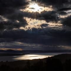 Lake Siljan, July 15, 2019 (Ulf Bodin) Tags: rays moln summer plintsberg landscape canonef100400mmf4556lisiiusm sjö cloud lake siljan sweden outdoor dalarna canoneosr sky sverige dalarnaslän