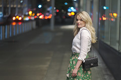 Charlotte (Skaalnes) Tags: nyc newyork manhattan street night blonde woman chanel lights prime 85mm city