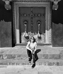 Exploring a different time (AislinR) Tags: tibet blackandwhite bw monastery tashi lhunpo xigaze shigatse architecture oldbuildings door portrait