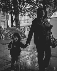 Victoria Square (IWCharters) Tags: umbrella mono street england rain bolton lancashire