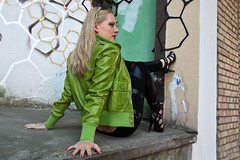 Yvonne 40 (The Booted Cat) Tags: sexy blonde hair girl mode leather jacket tight leggins heels highheels feet foot toes