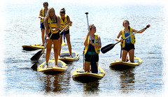 Paddleboard Girls (Anthony Mark Images) Tags: trentcanal water ontario canada fairhavens fun paddleboards yellowpaddleboards pfds yellow yellowlifejackets oars funwithfriends females friends youth youngladies reflections portrait people nikon d850 flickrclickx summercamp watersports