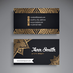 Business Card. Vintage decorative elements. Ornamental floral business cards or invitation with mandala (muezurrehman21) Tags: card business name vintage flower mandala wedding arabic banner decoration element ethnic floral frame henna identity indian invitation motive ornament paper pattern retro style template tribal web turkish pakistan abstract abstraction background black circle cover design islam meditation motif mystical ottoman paganism phone print round site tattoo vector yoga snowflake