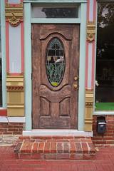 The Bank Door (Peter Goodair) Tags: history colour door bank scottsburg indiana colourful doorstep stainedglass