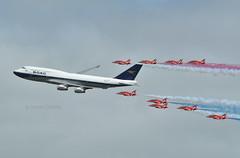 BOAC BOEING 747 & THE RED ARROWS (Donald Douglas) Tags: 100th british airways boac b747 red arrows riat fairford anniversary speedbird 100