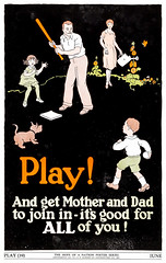 """Play"" - The Hope of a Nation Poster Series, Works Progress Administration, 1937 (gameraboy) Tags: thehopeofanation poster worksprogressadministration 1937 wpa 1930s design art illustration propaganda posterart play baseball family activities active"