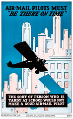 """Punctuality"" - The Hope of a Nation Poster Series, Works Progress Administration, 1937 (gameraboy) Tags: thehopeofanation poster worksprogressadministration 1937 wpa 1930s design art illustration propaganda posterart airmail pilot airplane plane tardy ontime punctuality punctual"