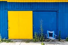 Yellow door Blue chair (rick miller foto) Tags: vibrant bright pop 1635 eosr canon abandoned doorway door yellow blue color colour streetscenes usa michigan detroit
