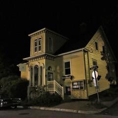 Yellow house with front turret, night on Montague Street, Lunenburg, Nova Scotia (Paul McClure DC) Tags: lunenburg novascotia canada maritimes june2018 architecture historic