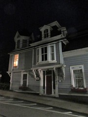 House with oriel and turret over the door, Lincoln Street at night, Lunenburg, Nova Scotia (Paul McClure DC) Tags: lunenburg novascotia canada maritimes june2018 architecture historic