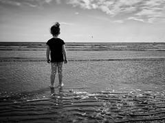 "Low tide (Ruaraidh80) Tags: family sea beach water scotland seaside vignette ""blackandwhite"" iphone iphonography"