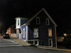 Blue house with oriel over the door, Lincoln Street at night, Lunenburg, Nova Scotia (Paul McClure DC) Tags: lunenburg novascotia canada maritimes june2018 architecture historic