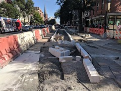 2019-07-01 17.41.55 (whiteknuckled) Tags: 14th street dc slip lane bus stop construction floating bike