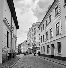 Streetview (Zunkkis) Tags: riga latvia street bw blackwhite