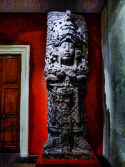 Too Much Time and Not Enough Tequila (Steve Taylor (Photography)) Tags: art sculpture carving museum mauve red brown white blue green stone uk gb england greatbritain unitedkingdom london aztec britishmuseum mexican texture