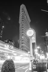 The Iconic Flatiron Building (Radical Retinoscopy) Tags: flatiron flatironbuilding nyc newyorkcity manhattan longexposure blackandwhite monochrome nightphotography nightphoto traffic