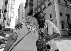 Saxophone player and friend in Center City Philadelphia (ksmallon) Tags: life sony sonya6000 monochrome mono absoluteblackandwhite blackandwhitephotography blackandwhite bnw bw philly philadelphia portrait candid city people summer friends love musician music saxophone