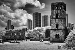 Ruins of Old Panama (Bernai Velarde-Light Seeker) Tags: panama old city belltower highrise trees clouds unescoheritagesite monochrome blackandwhite bernai velarde centralamerica