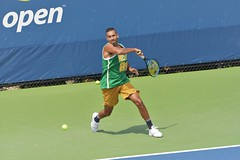 norland d. cruz photography: australian tennis player nick kyrgios swats the ball with a forehand on practice day at the us open 2019 in new york (norlandcruz74) Tags: 70300mm telefoto telephoto lens zoom nikkor d7200 dx nikon gear iso high speed shutter photographer shutterbug american filipino pinoy norlandcruz flushingmeadows queens newyork ny event tournament majors major grandslam summer august 2019 usopen sports sport usta tour atp singles mens aussie australia australian kyrgios nick