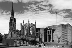 Coventry Cathedral, Old & New (lightersideofdark) Tags: blackwhite cathedral coventrycathedral dark outside outdoors religion religious god spire clouds photography stmichaelthedevil stmichael devil trees