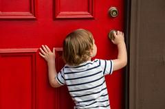 I know how this works! (Pejasar) Tags: boy child grandson door red vacationhouse estespark colorado