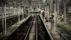 station maintenance workers (Sat Sue) Tags: lumix micro four thirds gx7mk2 gx80 gx85 japan fukuoka takeshita station railway railroad 43