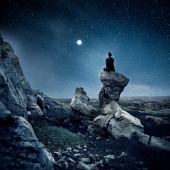 Moon watcher (Anna Heimkreiter) Tags: iceland full moon selfportrait composite night stars moonlight